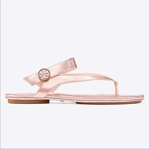 Tory Burch Rose Gold Traveler Leather Sandals